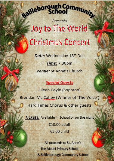 BCS Christmas Concert – Wednesday 18th, 7.30p.m.
